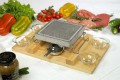 Ilsa Convivio square  Volcanic Cooking Stone set With Stand and natural wooden tray