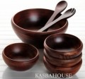 Rubberwood 7 Piece Salad Set plus Gift