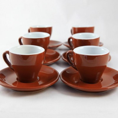 Brown Italian Cafe Style Milano Cappucino Cups Set of 6 ...