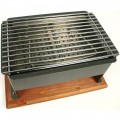 8 5 8 Inch by  14 .25 Inch Table Side Barbecue with Wood Base